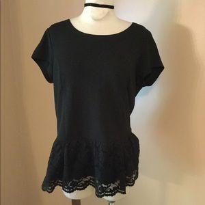 Sexy black goth Peplum lace top shirt blouse LG